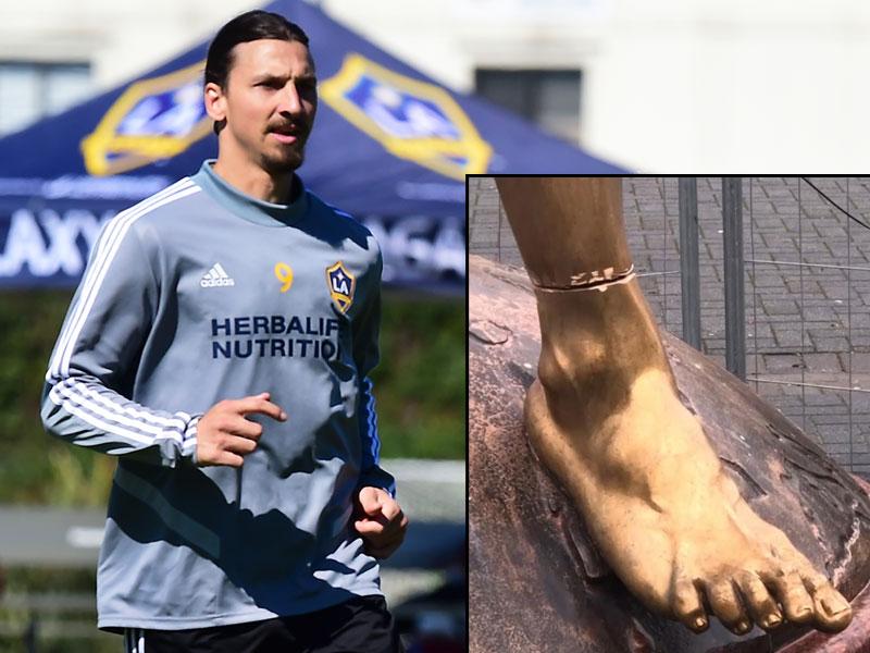 ยังไม่หายแค้น !! แฟนบอลมัลโม่ ย่องเลื่อยเท้ารูปปั้น ซลาตัน อิบราฮิโมวิช