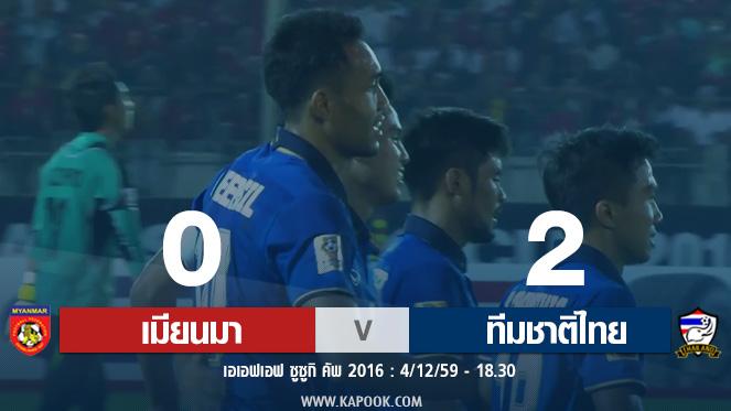 เอเอฟเอฟ ซูซูกิ คัพ : เมียนมาร์ 0-2 ทีมชาติไทย