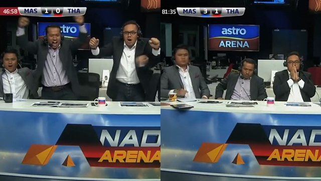 คลิปฮา ปฏิกิริยาผู้บรรยายฟุตบอลมาเลย์ ก่อน-หลังไทยยิงได้